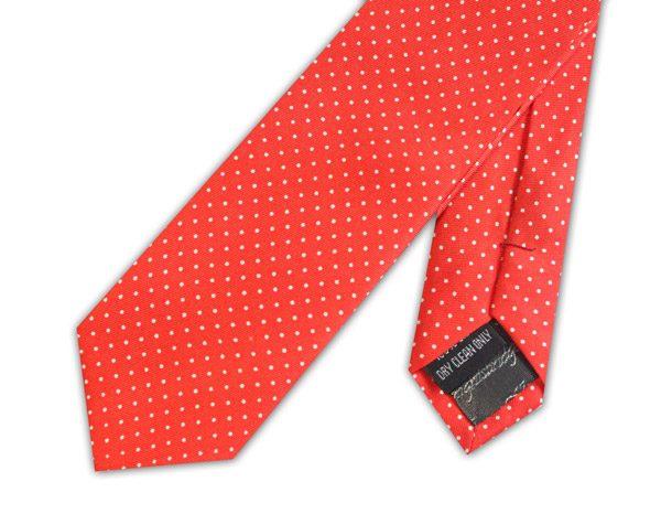 red/white pin dot silk skinny tie -0
