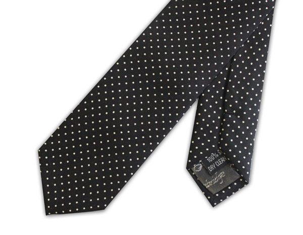 Black/white pin dot silk skinny tie -0