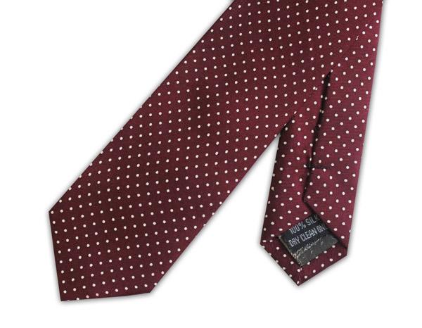 Burgundy/white pin dots Silk Skinny Tie