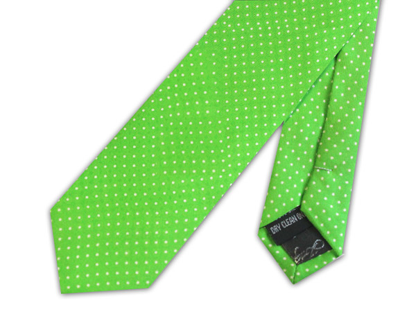 Lime/white pin dots silk skinny tie