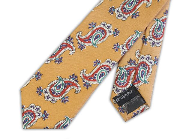 Vintage Gold/red skinny silk tie -0