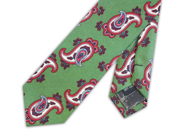 Olive green/red paisley skinny silk tie