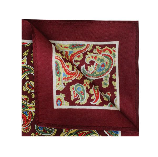 Maroon/red/yellow paisley square -0
