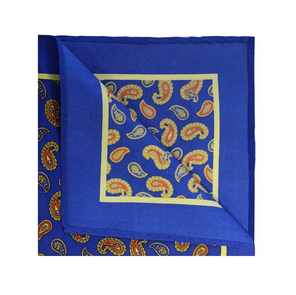 ROYAL BLUE/ORANGE SILK SQUARE-0