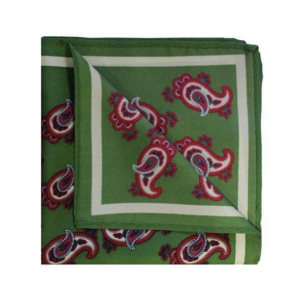 Paisley olive green/red printed square-0