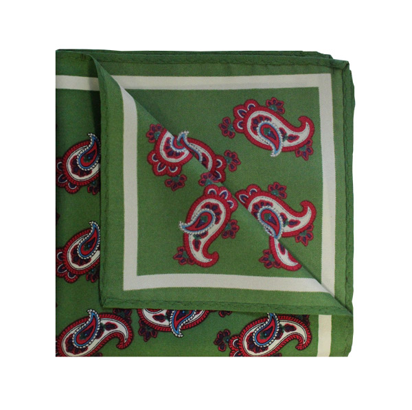 Paisley olive green/red printed square