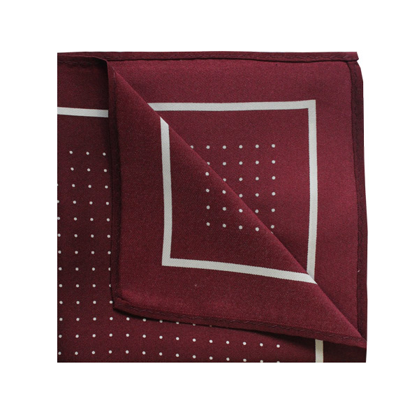 Pin dot square in wine red/white