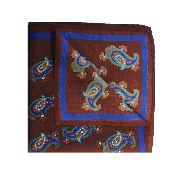 PAISLEY burgundy/blue PRINTED SQUARE