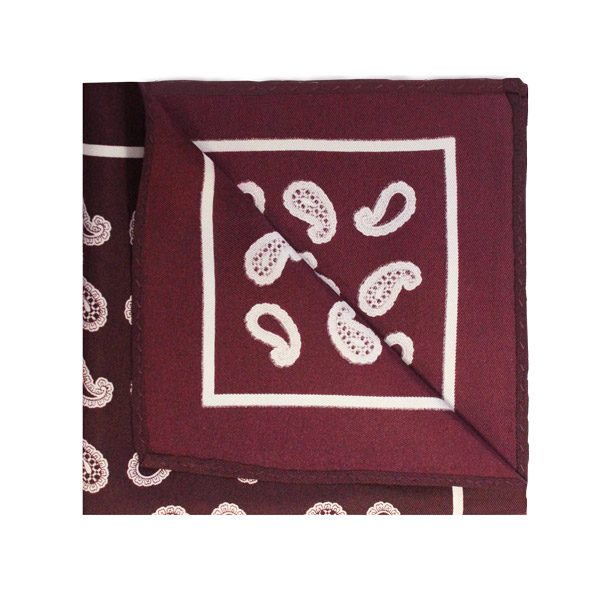 Wine red/white paisley square-0