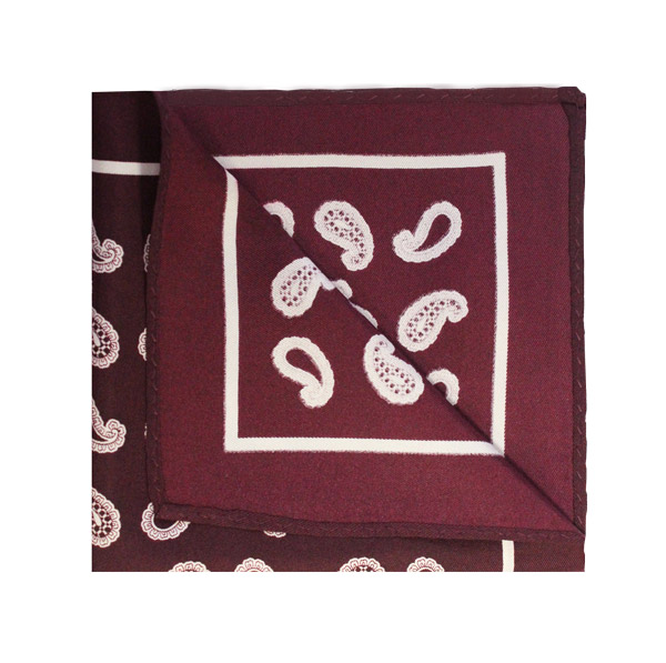 Wine red/white paisley square