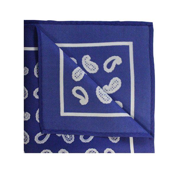 Royal blue/white paisley square-0