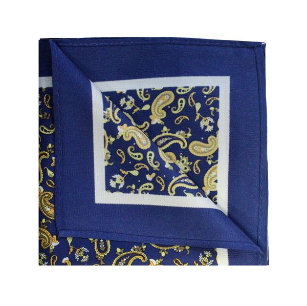 Royal blue/yellow paisley printed square-0