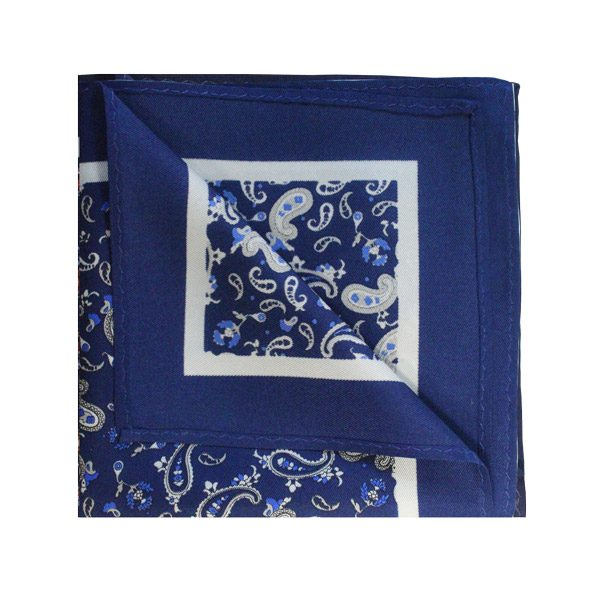 Navy blue/white paisley printed square-0