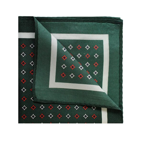Racing green/orange/white diamond printed square-0