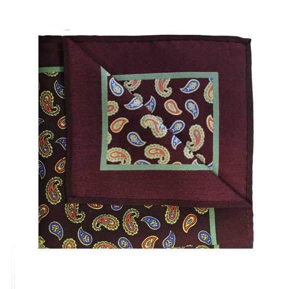 BROWN/ORANGE PAISLEY SILK SQUARE-0