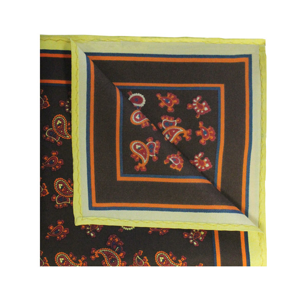 Brown/red/orange small paisley square
