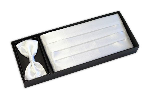 White cummerbund and bow tie set-0