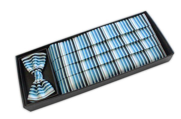 Blue, navy and white striped CUMMERBUND / BOW TIE SET-0