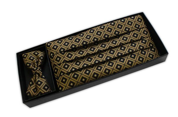 BLACK AND GOLD DIAMOND CUMMERBUND / BOW TIE SET-0
