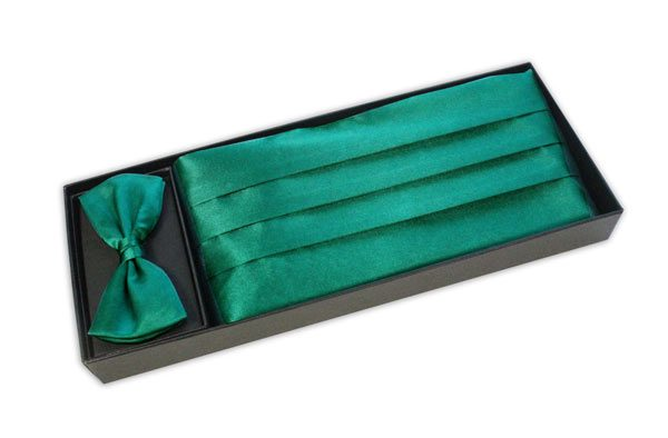 EMERALD GREEN CUMMERBUND AND BOW TIE-0