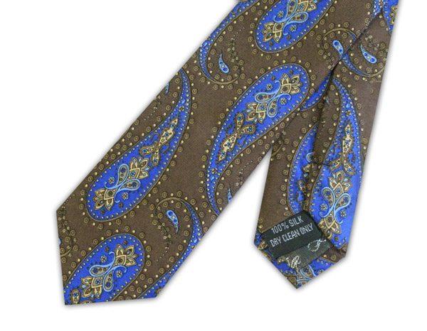 DARK BROWN/BLUE PAISLEY PRINTED SILK SKINNY TIE-0