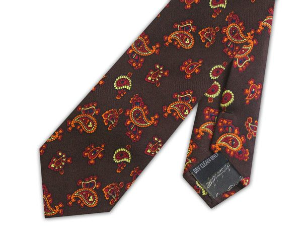 KNIGHTSBRIDGE RETRO BROWN PAISLEY SKINNY SILK TIE-0