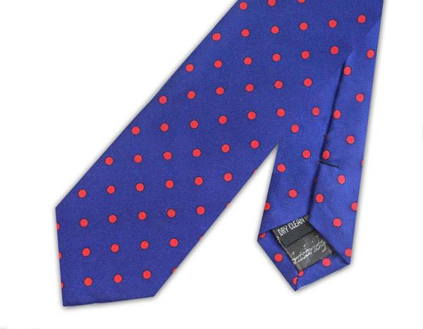 KNIGHTSBRIDGE RETRO ROYAL BLUE WITH RED POLKA DOTS SILK PRINTED SKINNY TIE