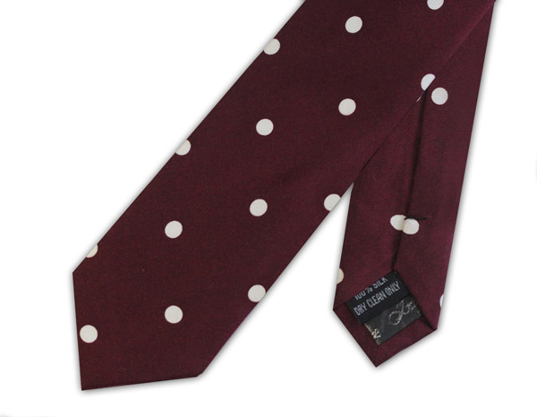 KNIGHTSBRIDGE RETRO BURGUNDY WITH WHITE POLKA DOTS PRINTED SILK SKINNY TIE