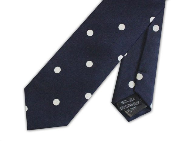 KNIGHTSBRIDGE RETRO NAVY WITH WHITE POLKA DOTS PRINTED SILK SKINNY TIE-0