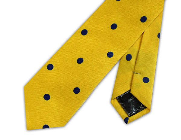KNIGHTSBRIDGE RETRO YELLOW WITH NAVY POLKA DOTS PRINTED SILK SKINNY TIE -0