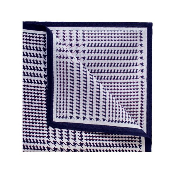 Deep purple/white houndstooth printed square-0