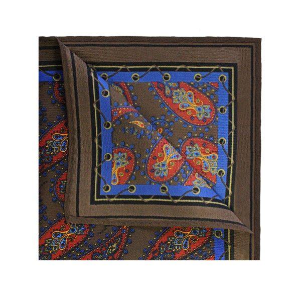 DARK brown PAISLEY PRINTED Square-0