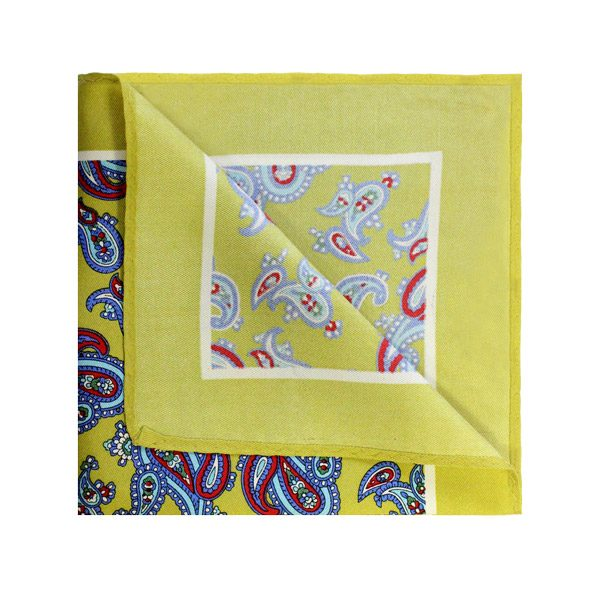 YELLOW/SKY BLUE Paisley SQUARE-0