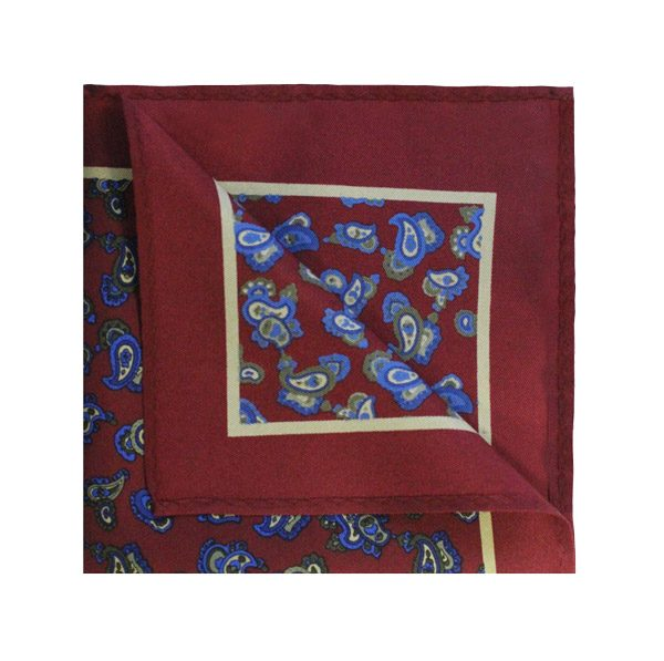 BURGUNDY/BLUE PAISLEY SQUARE-0