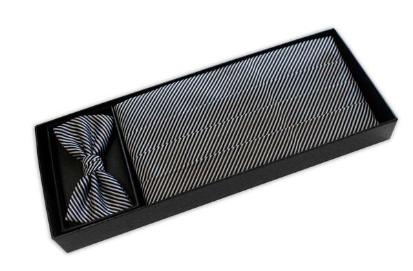 Black and White stripe CUMMERBUND / BOW TIE SET