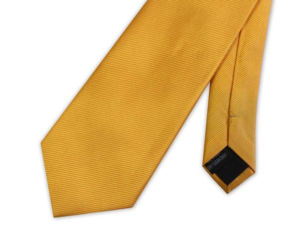 mustard YELLOW WOVEN SILK TIE-0