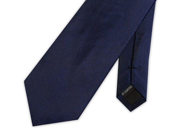 NAVY BLUE WOVEN SILK TIE-0