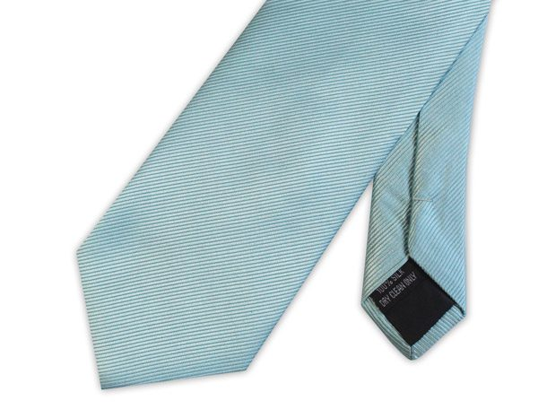 Duck egg Blue WOVEN SILK TIE-0