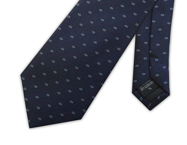 Navy/white micro pattern clip on tie -0