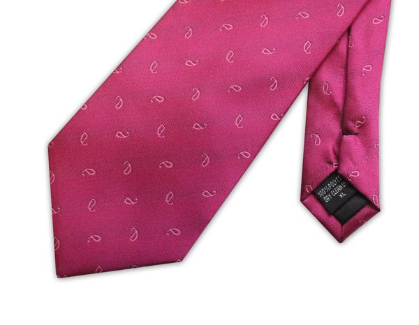 Fuchsia pink/white micro pattern clip-on tie -0