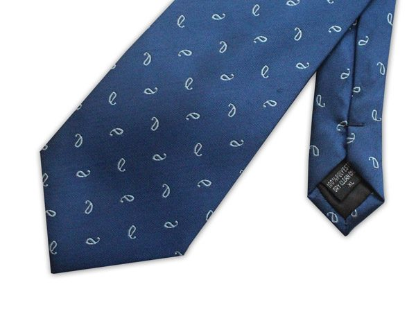 FRENCH NAVY SMALL PAISLEY PRINT TIE-0