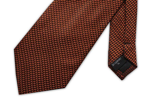 BURNT ORANGE GEOMETRIC PRINT XL TIE-0