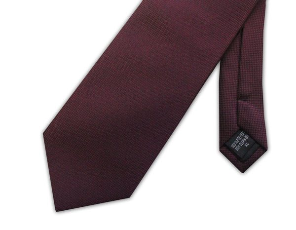 BURGUNDY MICRO GRID SOLID PLAIN TIE-0