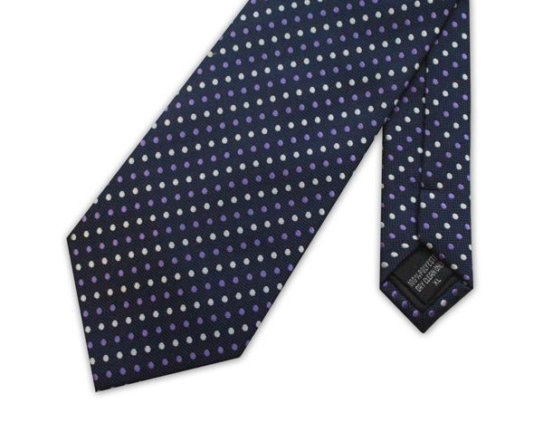 NAVY WITH YELLOW AND PURPLE SPOTS TIE-0