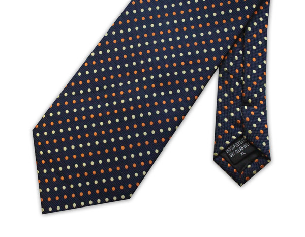NAVY WITH YELLOW AND ORANGE SPOTS TIE
