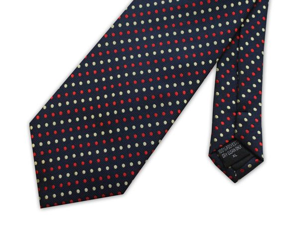 NAVY WITH YELLOW AND RED SPOTS XL TIE -0