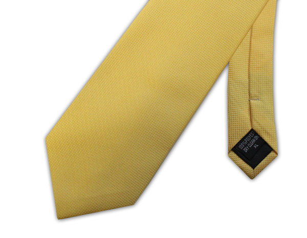 BRIGHT YELLOW MICRO GRID WOVEN POLY TIE