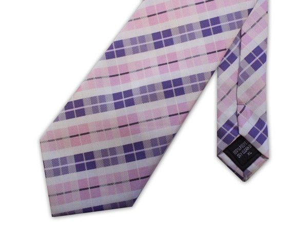 PINK, PURPLE AND WHITE CHECK XL TIE-0
