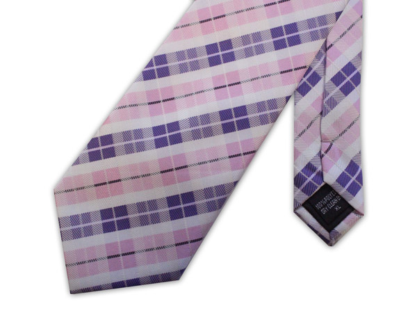 PINK, PURPLE AND WHITE CHECK XL TIE