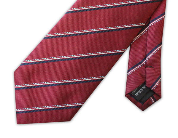 RED TIE WITH WHITE/GREY STRIPE